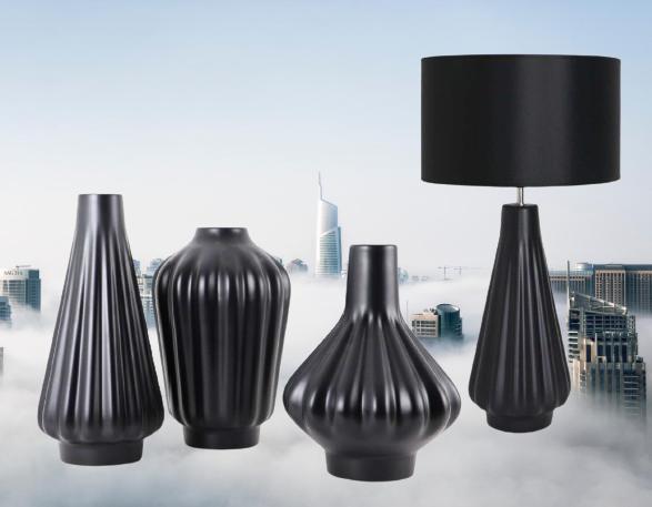 Set 1 Lampa cu 3 Vaze KNOPPER, ceramica, negru, 34 34 30 28 cm imagine 2021 lotusland.ro