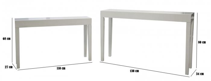 Set 2 console, alb, 130X34X80-110X27X68 cm, Mauro Ferretti 3