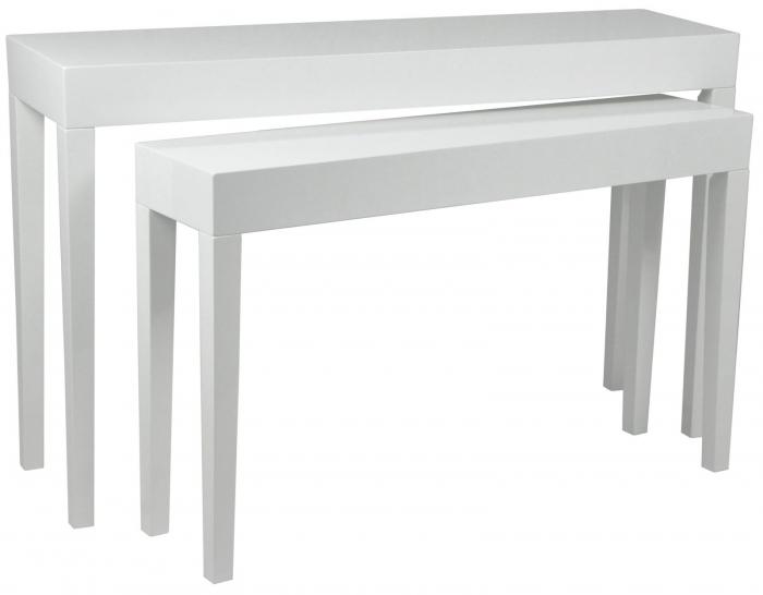Set 2 console, alb, 130X34X80-110X27X68 cm, Mauro Ferretti 0