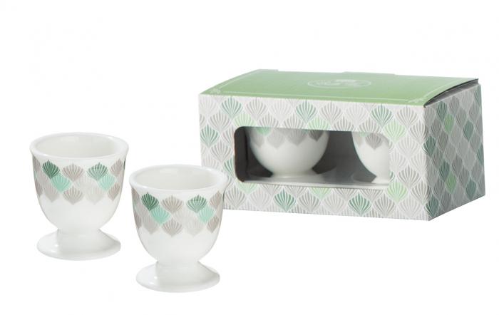Set 2 cupe pentru ou Natur Art, portelan, multicolor, lotusland.ro