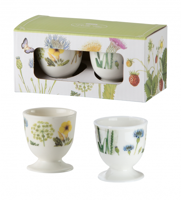 Set 2 cupe pentru ou Wild Flower, portelan, multicolor, 5.4x5 cm imagine 2021 lotusland.ro