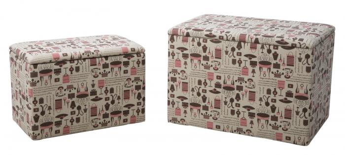Set 2 cutii depozitare (cm) 59X39X41- 48X28X33 imagine 2021 lotusland.ro