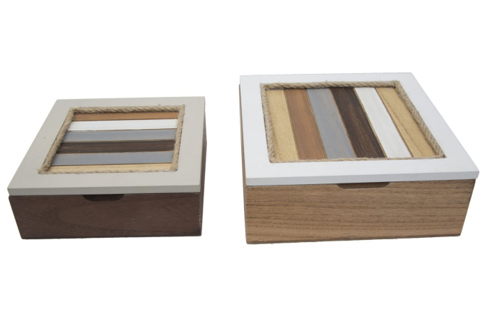 Set 2 cutii Lignes, MDF, multicolor, 19X19X7 - 16X16X5.5 cm imagine 2021 lotusland.ro