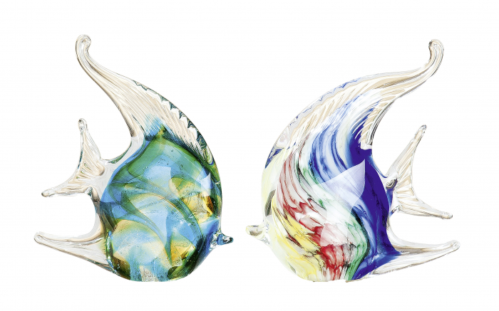 Set 2 deco CORAL FISH, sticla, 13.5x4X13.5 cm 1