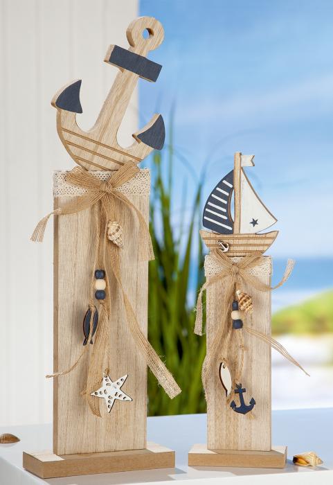Set 2 decoratiuni Anchor Sailing boat, MDF, albastru maro, 13x42.5x6 cm lotusland.ro