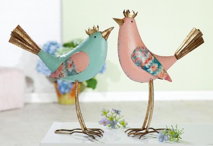 Poza Set 2 decoratiuni de gradina Bird, metal, multicolor