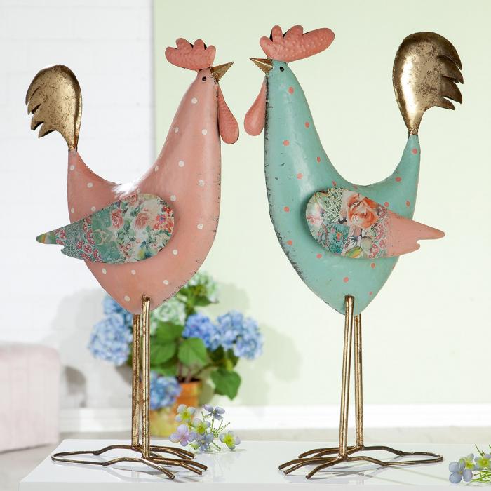 Poza Set 2 decoratiuni de gradina Colorful Rooster, metal, culoare, 34x57x16 cm