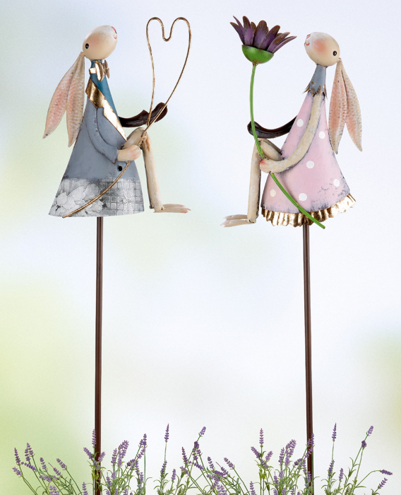 Poza Set 2 decoratiuni de gradina Flora, metal, multicolor, 18x150x6 cm