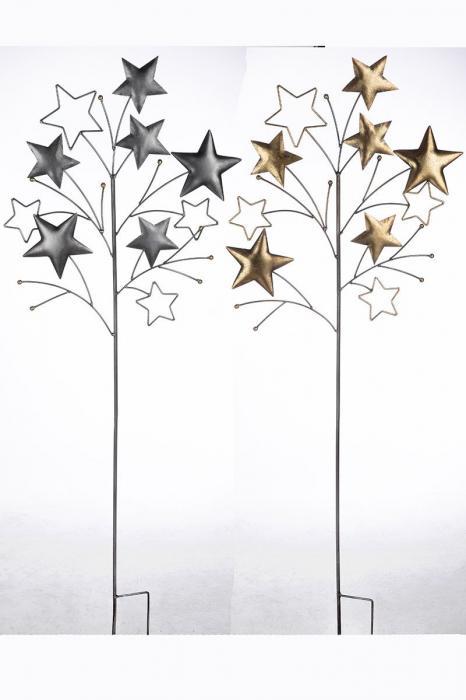 Set 2 decoratiuni de gradina Stars, Metal, Auriu Argintiu, 2x46x125 cm