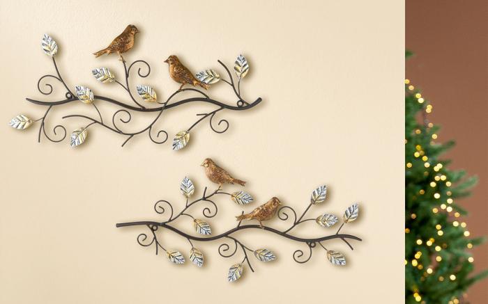 Set 2 decoratiuni de perete BIRDS, metal, 49X24 cm (X2) 0