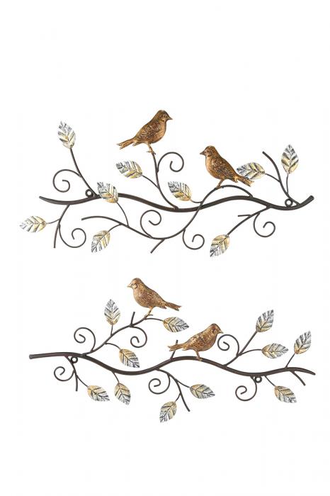 Set 2 decoratiuni de perete BIRDS, metal, 49X24 cm (X2) 1