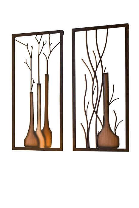 Set 2 decoratiuni de perete VASE ON VASE, metal, 40 x 2 x 80 cm [1]