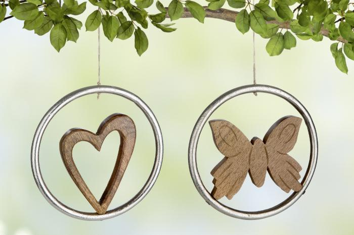 Set 2 decoratiuni Heart, Butterfly , aluminiu lemn, argintiu maro, imagine 2021 lotusland.ro