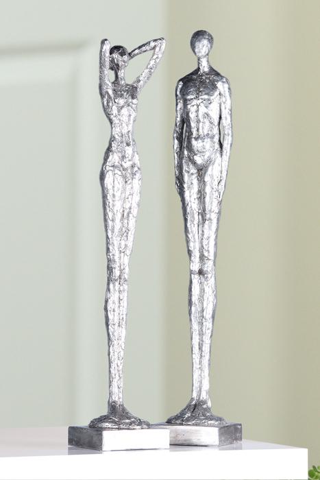 Set 2 figurine asortate Millenium rasina, argintiu, 60x11x11 cm imagine 2021 lotusland.ro