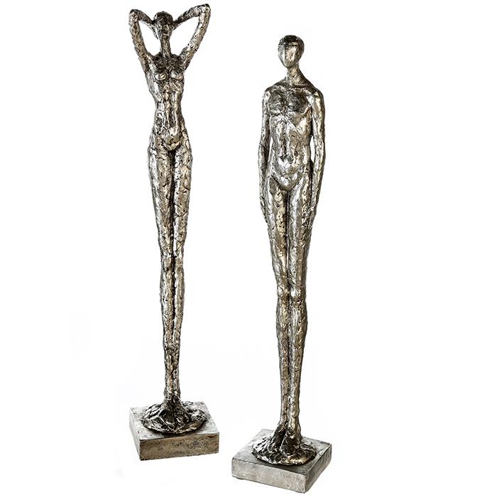 Set 2 figurine asortate Millenium rasina, argintiu, 79x13.5x14 cm imagine 2021 lotusland.ro