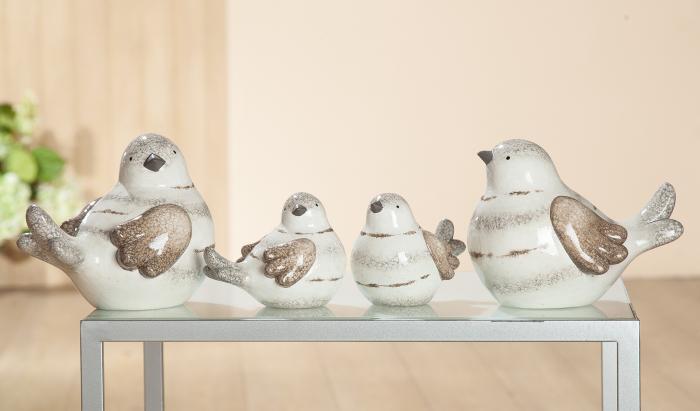 Set 2 figurine bird Banda, ceramica, multicolor, 13.5x11x9 cm imagine 2021 lotusland.ro