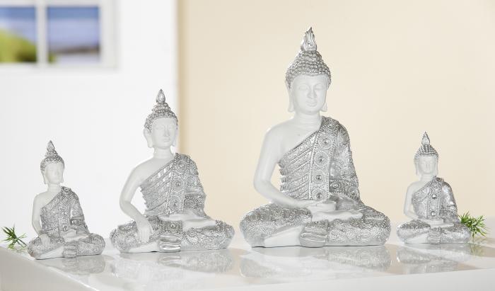 Set 2 figurine Buddha, rasina, alb argintiu, 8x11.5x5 cm imagine 2021 lotusland.ro
