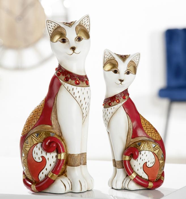 Set 2 figurine cat Amaranth, rasina, multicolor, 11x28.5x8 cm imagine 2021 lotusland.ro