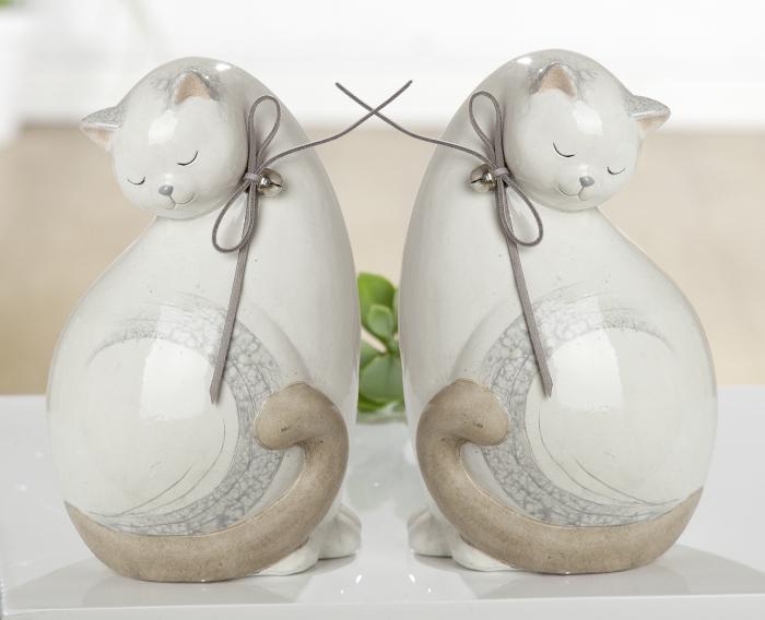 Set 2 figurine cat Naturale, ceramica, alb crem, 12x18x11 cm lotusland.ro