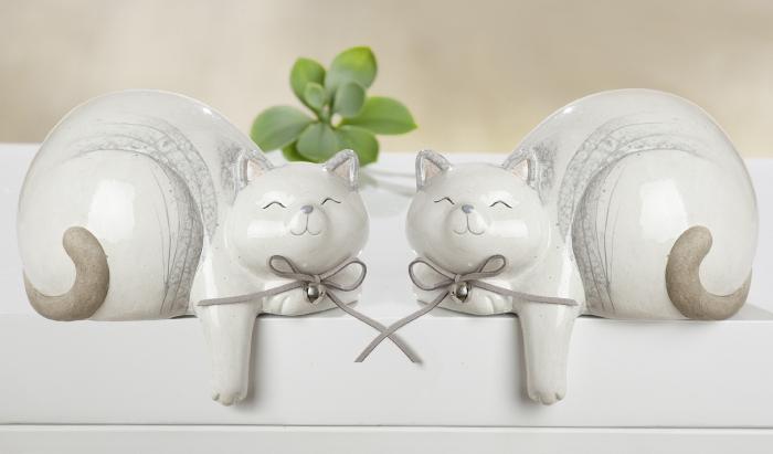 Set 2 figurine cat Naturale, ceramica, alb crem, 16x13x11 cm imagine 2021 lotusland.ro