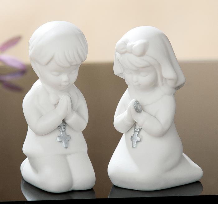 Set 2 figurine Rugaciune, portelan, alb, 3.5x8.5x4.5 cm 2021 lotusland.ro