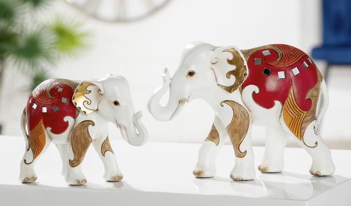 Set 2 figurine elefant Amaranth, rasina, multicolor, 17x13x7 cm lotusland.ro