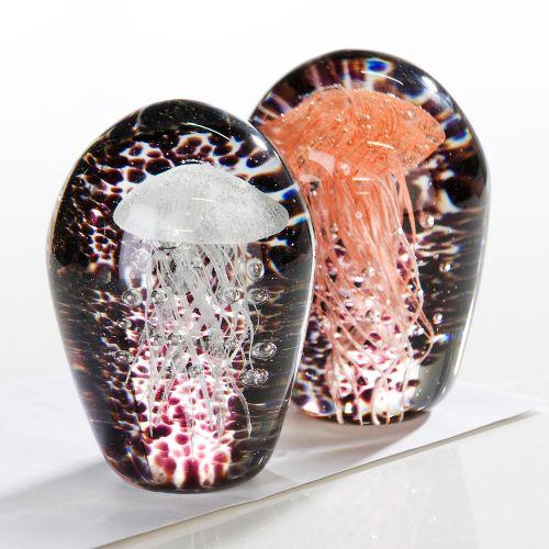 Set 2 figurine jellyfish, sticla, multicolor, 11 cm lotusland.ro