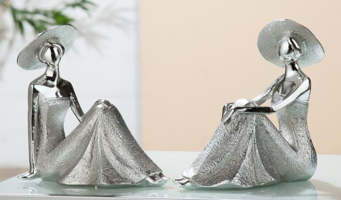 Set 2 figurine Lady Diva, rasina, argintiu, 8.5x17x16.5 cm imagine 2021 lotusland.ro