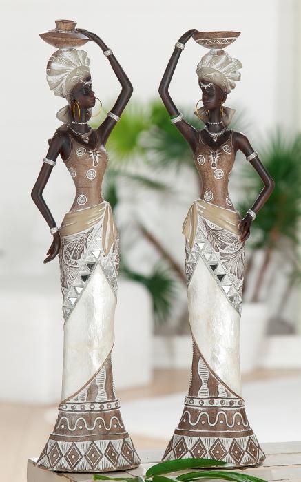 Set 2 figurine lady Nairobi, rasina, multicolor, 9x33x7 cm lotusland.ro