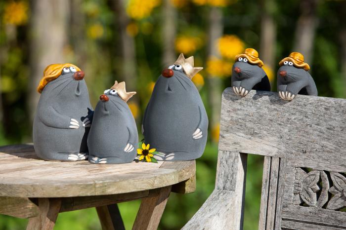 Set 2 figurine Mole, ceramica, multicolor, 11x16.5x10 cm imagine 2021 lotusland.ro