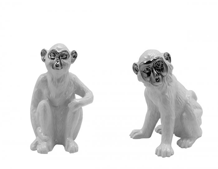Set 2 figurine Monkey Putumayo, ceramica, argintiu alb, 14x12x18 cm lotusland.ro