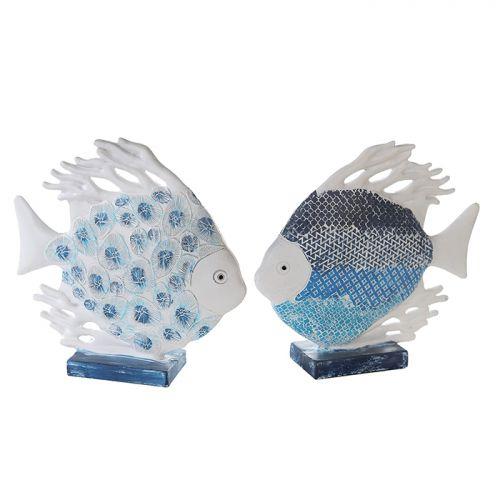 Set 2 figurine peste Maritim, rasina, albastru alb, 6.5x24x24 cm imagine 2021 lotusland.ro