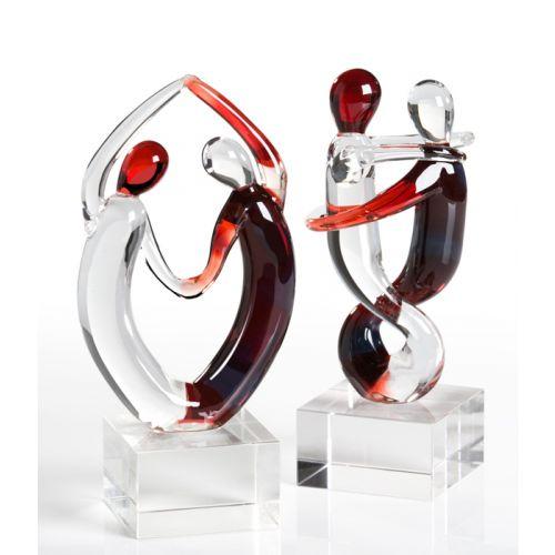 Set 2 figurine samba, sticla, rosu transparent, 15,16 cm imagine 2021 lotusland.ro