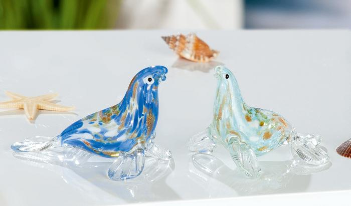 Set 2 figurine Seal, sticla, multicolor, 7.5x4.3x5 cm lotusland.ro