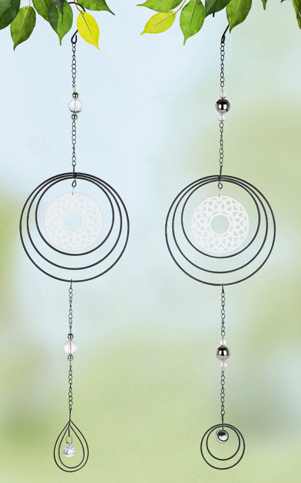 Set 2 ghirlande Circle Mandala, metal, argintiu, 15x61x1 cm lotusland.ro