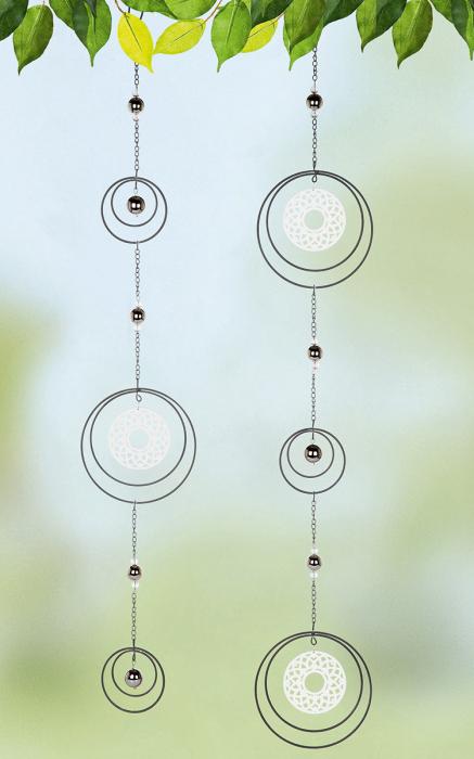 Set 2 ghirlande Circle Mandala, metal, argintiu, 16x90x1 cm lotusland.ro