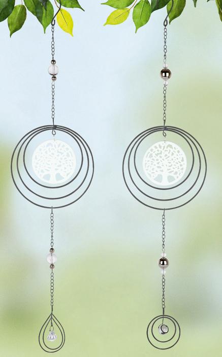 Set 2 ghirlande Circle Tree of Life, metal, argintiu, 15x61x1 cm lotusland.ro