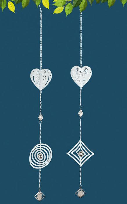 Set 2 ghirlande Heart 3D, metal, argintiu, 7.5x70x7.5 cm imagine 2021 lotusland.ro