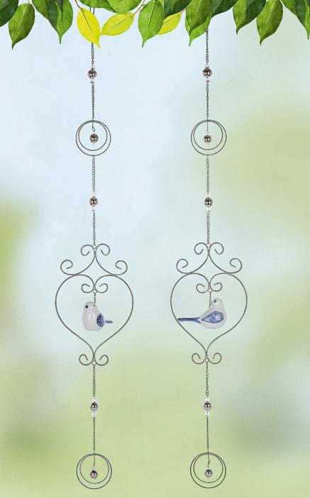 Set 2 ghirlande Heart Circle, metal, argintiu, 17x100x4 cm lotusland.ro
