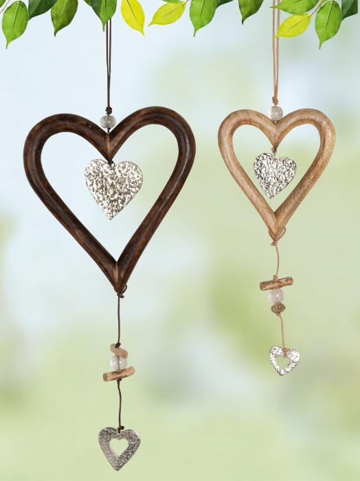 Set 2 ghirlande heart, lemn, maro, 14x48x1.5 cm lotusland.ro