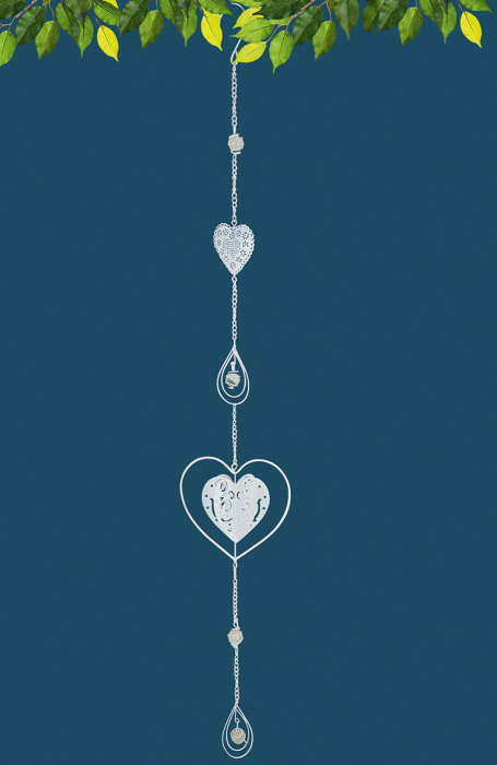 Set 2 ghirlande Heart, metal, alb, 13x90x7 cm 2021 lotusland.ro