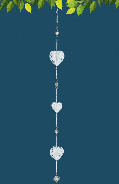 Set 2 ghirlande Heart, metal, alb, 7x90x7 cm 2021 lotusland.ro