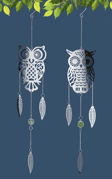Set 2 ghirlande Owl, otel, argintiu, 12x70 cm 2021 lotusland.ro