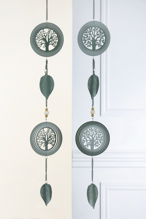 Set 2 ghirlande Tree of Life, metal, verde, 90 cm lotusland.ro
