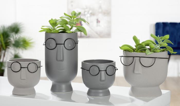 Set 2 ghivece Face Faccia, ceramica, gri, 12x12x12 cm imagine 2021 lotusland.ro