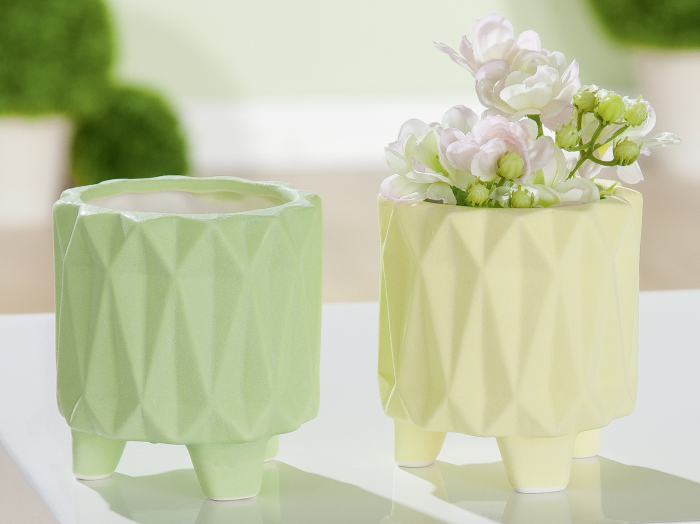 Set 2 mini ghivece Rombo, portelan, verde/galben, 8.8x8.2 cm 0
