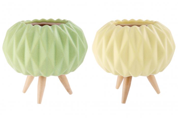 Set 2 mini ghivece Rombo, portelan, verde/galben, 9.5x10 cm 1