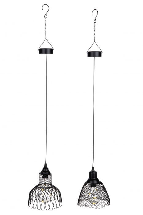 Set 2 lampi solare cu Led Mesh, metal, negru, 15x14.5 cm 1