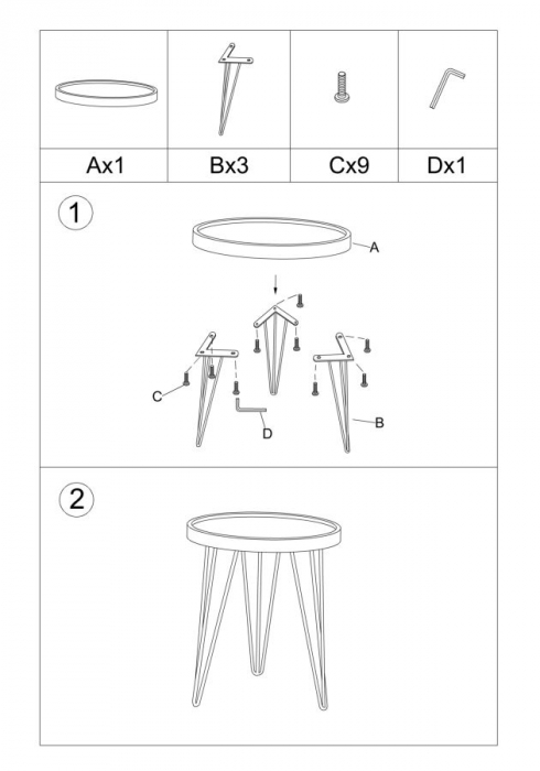 Set 2 masute AREX  (cm) Ø 46X50- 38X44 9