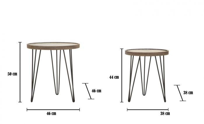 Set 2 masute AREX  (cm) Ø 46X50- 38X44 8